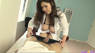 Filthy and busty nurse giving head and sticking it up her