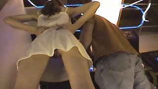 Peek up skirt of dirty girl shows no panties and hairy pussy