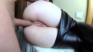 Two cum in her beautiful ass - amateur anal creampie