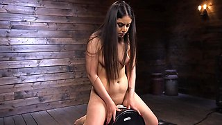 Latina girl with pierced nipples tests fucking machine and Sybian