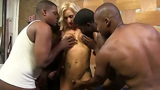 Blonde swallows cum of 4 black guys after a gangbang