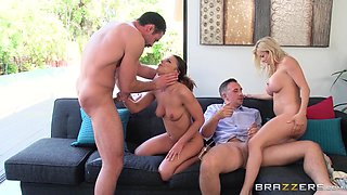 sexy wives initiate foursome fuck fest