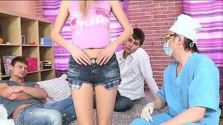 Doc assists with hymen examination and defloration of virgin