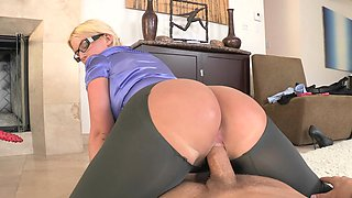 A big ass bimbo with glasses is doing a blow job and more