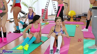 FitnessRooms Lesbian threesome for hot and sweaty gym babes
