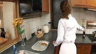 Hibiki Ohtsuki blowjob and hot kitchen sex