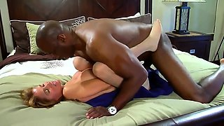 Cheating blonde milf with big tits is a sucker for dark meat