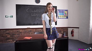 Teen in a school uniform masturbating