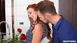 Lad fucks the hot redhead after stripping her in romantic modes