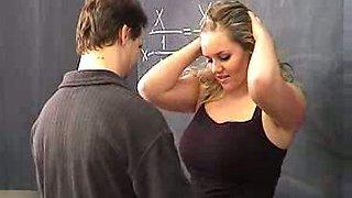 Bosomy blonde teacher fresh outta college is so easy to seduce