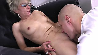 attractive skinny 50+ milf with glasses gets fucked by her young admirer