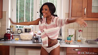 Leggy ebony Kiki Minaj joins a white boy in the kitchen for some fun