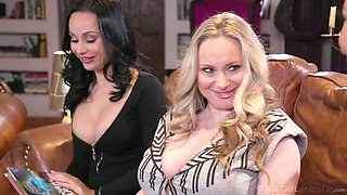 MILF tea party with busty Ryan Keely is turned into lesbian threesome
