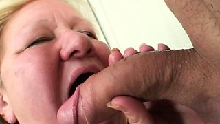 Huge boobs mother inlaw sucks and rides young cock