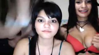 Three beautiful teenage lezzers stripping on webcam