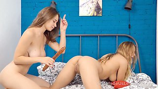 Two pale lesbians with juicy bums are more than happy to use double ended dildo