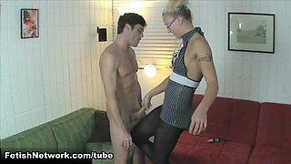 JC Simpson is Horny for a Femdom CBT Handjob with her Slave Lance Hart