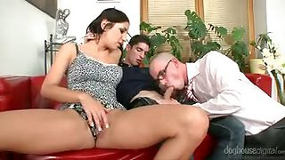 Rachel gets so horny watching dude give head to anothe man.