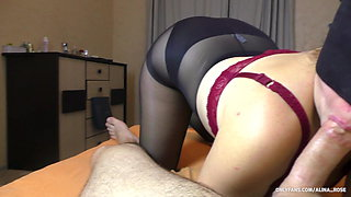 POV Blowjob and Handjob from Teen in Pantyhose - amateur