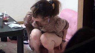 Japanese babe fingering her clit