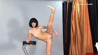 acrobatic rina sunkor bangs her elastic pussy with a dildo