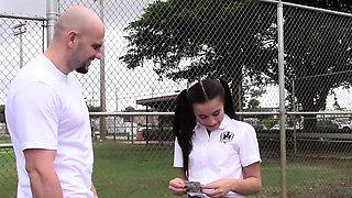 Lovely teen schoolgirl in Kharlie Stone has her pretty face