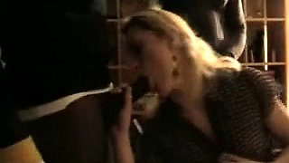 Sexy blonde milf has three black guys fulfilling her needs