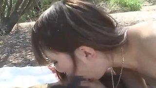 Japanese teen fucks African outdoor
