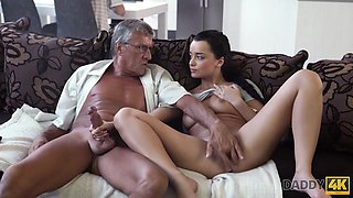 DADDY4K. Taboo sex of old guy and sweet brunette ends with cum in mouth