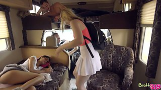 Palatable stepsister Katya Rodriguez and her GF are fucked by horny stepbrother