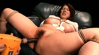 Big breasted Japanese milf gets tied up and fucked rough