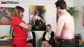 CFNM mature femdom and schoolgirl jerk off sub