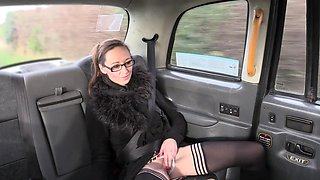 Rough Fake Taxi shagging for slutty brunette Demona Dragon