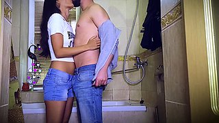 Cute tanned girl with nice shaved pussy gets wet in the