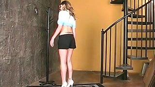 Dark Brown disrobes nude by stairs