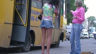 Upskirt XXX porno Philipino chick in a colorful shirt and a blonde