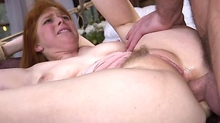Bound and butt plugged redhead wants cock in her holes