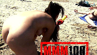 Nikki Litte in Cute Sexy spanish girl playing naked on the beach and peeing on older guy  - MMM100