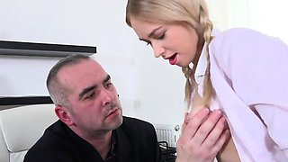 Cuddly schoolgirl is seduced and poked by elderly teacher