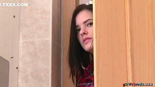 Miky Love, Daisy Lee And Anie Darling In A Cute Teen Spies On Two Girls Having Sex In The Bathroom