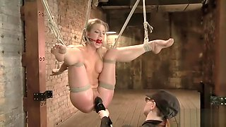 Blonde babe gets tied up and dominated