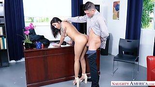 Latin secretary Mia Martinez offers herself sitting on boss's table