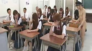 New Japanese transfer student goes naked in school CFNM