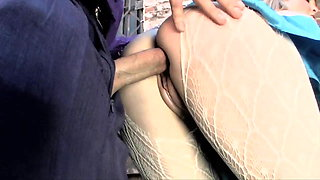 Sex in white pantyhose
