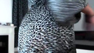 Bodacious amateur brunette teases with a big dildo on webcam