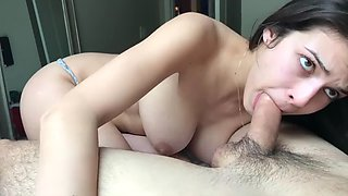 Adorable daughter with big tits woken up by her horny father