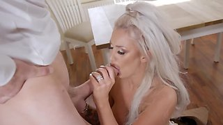 Getting the monster cock ready for this white-haired bimbo
