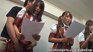 Kinky group of schoolgirls takes dildoes and vibrators in them pussyes.