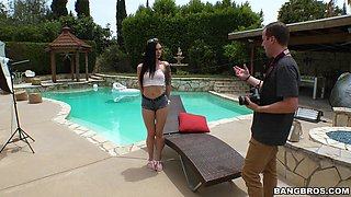 Hardcore fucking by the pool with anal loving model Marley Brinx