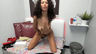 Young light ebony Bliss with saggy boobs and tight pussy